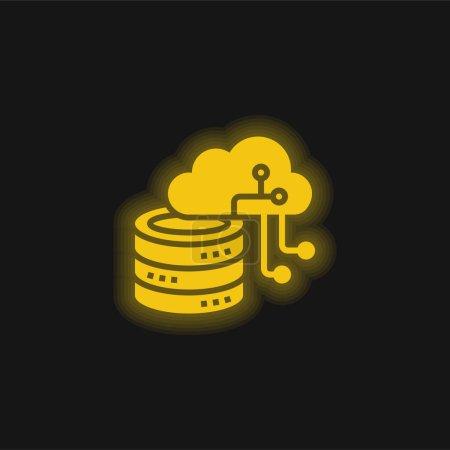 Illustration pour Intelligence Artificielle jaune brillant icône néon - image libre de droit