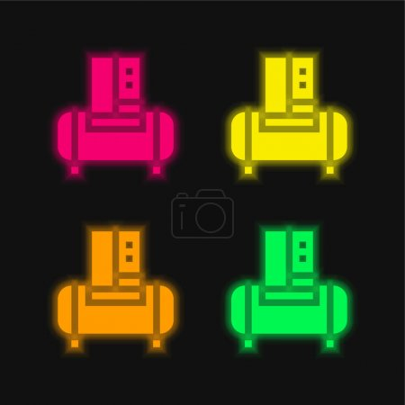 Illustration for Air Compressor four color glowing neon vector icon - Royalty Free Image