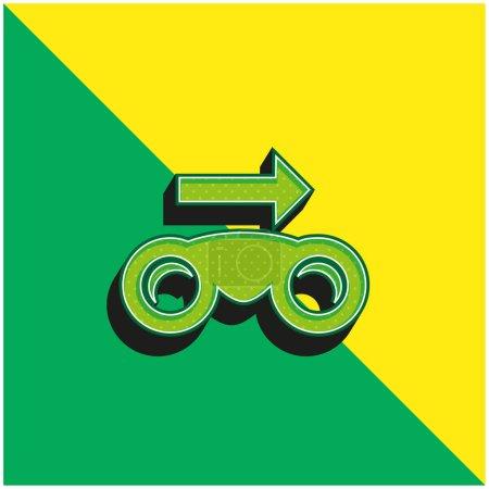 Photo pour Jumelles avec flèche droite Vert et jaune moderne icône vectorielle 3d logo - image libre de droit