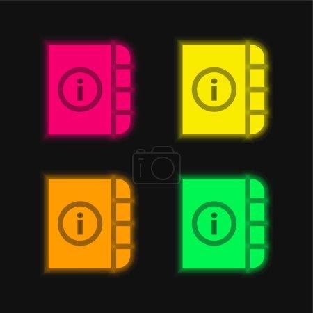 Agenda four color glowing neon vector icon