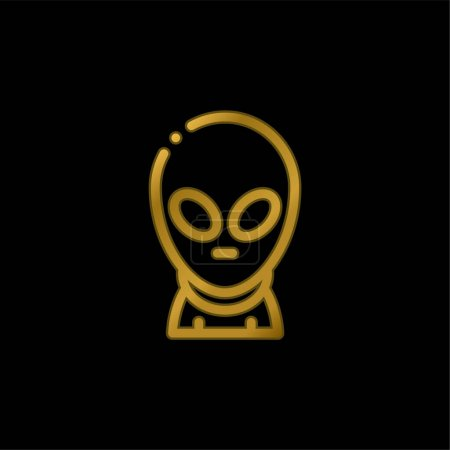 Illustration pour Icône métallique plaqué or extraterrestre ou vecteur de logo - image libre de droit
