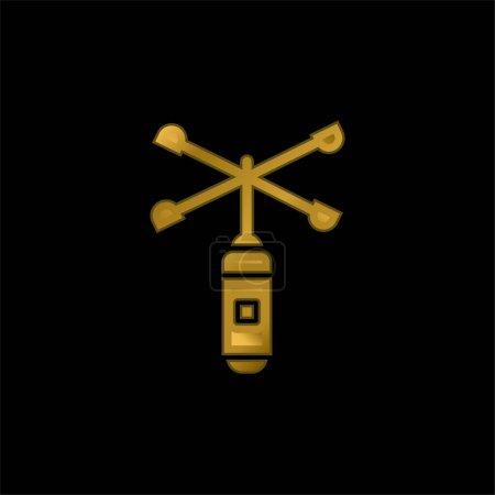 Illustration pour Anémomètre plaqué or icône métallique ou logo vecteur - image libre de droit