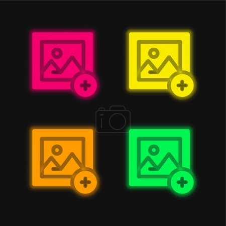 Illustration pour Ajouter une image quatre couleurs rougeoyantes icône vectorielle néon - image libre de droit