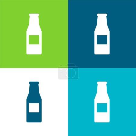 Illustration pour Bouteille de bière Ensemble d'icônes minimal plat quatre couleurs - image libre de droit