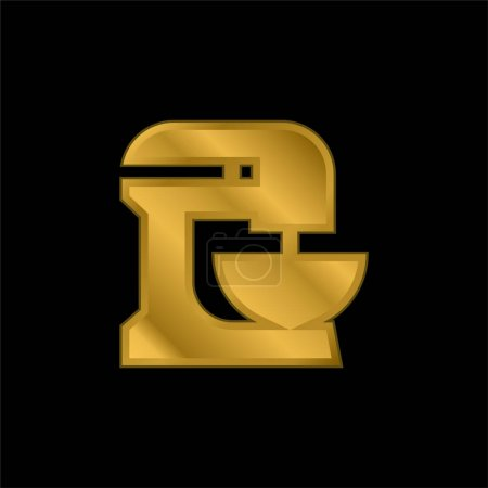 Illustration for Beater gold plated metalic icon or logo vector - Royalty Free Image