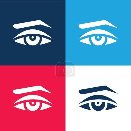 Illustration pour Apparence bleu et rouge quatre couleurs minimum jeu d'icônes - image libre de droit