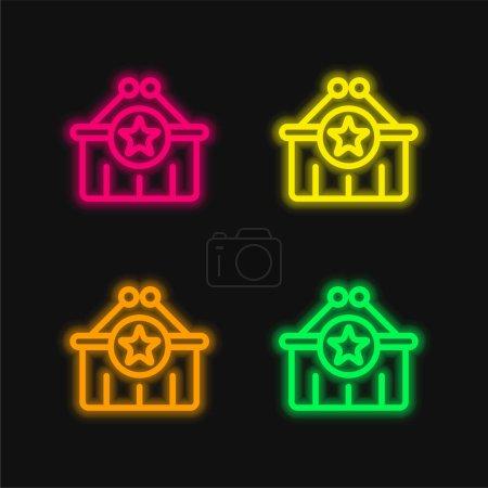 Illustration pour Panier quatre couleurs rougeoyantes icône vectorielle néon - image libre de droit