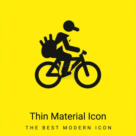 Illustration for Bicycle minimal bright yellow material icon - Royalty Free Image