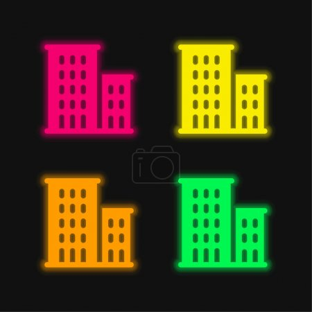 Illustration for Apartments four color glowing neon vector icon - Royalty Free Image