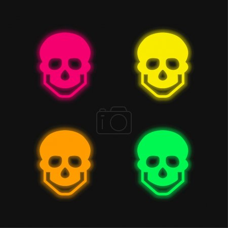 Illustration for Big Skull four color glowing neon vector icon - Royalty Free Image