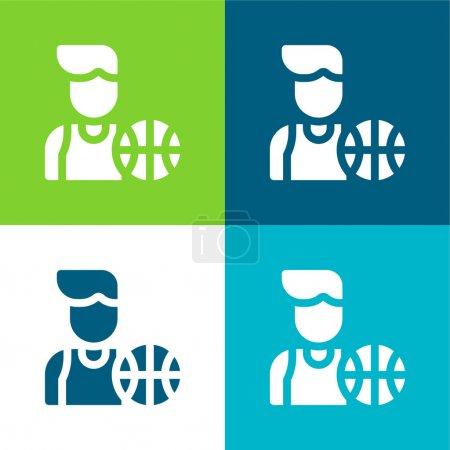 Photo pour Joueur de basket-ball Ensemble d'icônes minimal plat quatre couleurs - image libre de droit