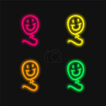 Balloon Hand Drawn Toy With Smiling Face four color glowing neon vector icon