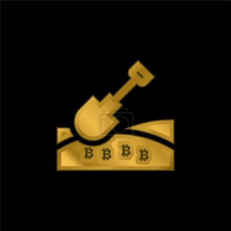 Illustration pour Bitcoin plaqué or icône métallique ou logo vecteur - image libre de droit