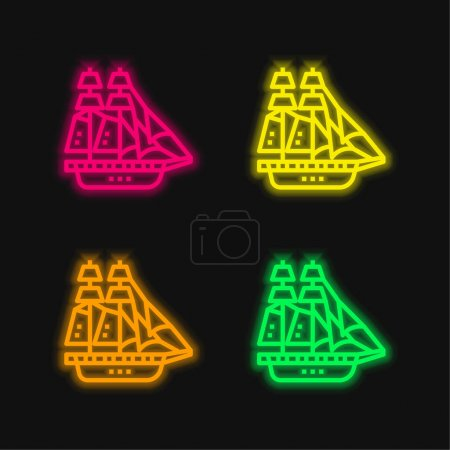Illustration for Barque four color glowing neon vector icon - Royalty Free Image