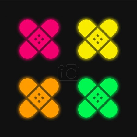 Illustration for Band Aid four color glowing neon vector icon - Royalty Free Image
