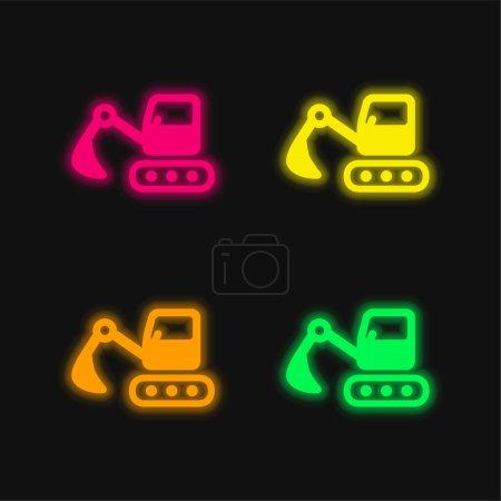 Illustration pour Rétrocaveuses quatre couleurs brillant icône vectorielle néon - image libre de droit