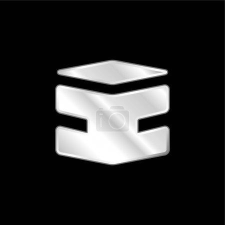 Illustration pour Boîte icône métallique argentée - image libre de droit