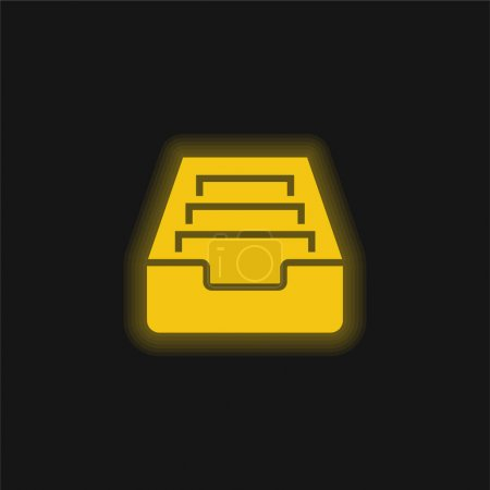 Illustration for Archive yellow glowing neon icon - Royalty Free Image