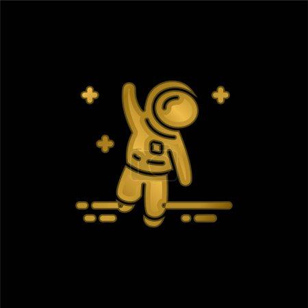 Illustration pour Icône métallique plaqué or astronaute ou vecteur de logo - image libre de droit