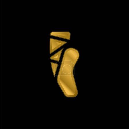 Illustration pour Ballet plaqué or icône métallique ou logo vecteur - image libre de droit