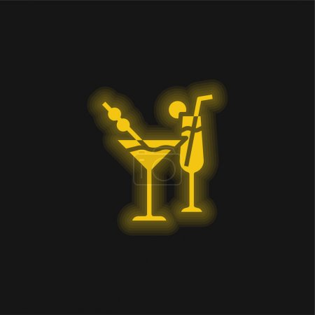 Beverage yellow glowing neon icon