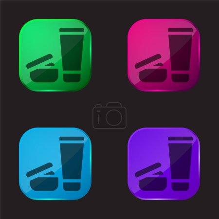 Photo pour Produits de beauté icône bouton en verre quatre couleurs - image libre de droit