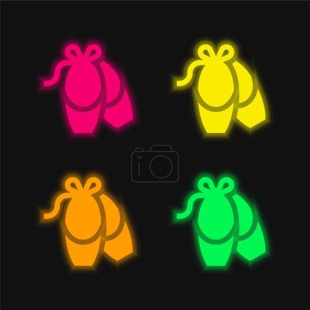 Ballerina four color glowing neon vector icon