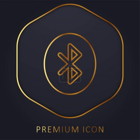 Illustration for Bluetooth golden line premium logo or icon - Royalty Free Image