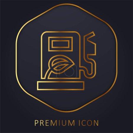 Illustration pour Ligne d'or biocarburant logo premium ou icône - image libre de droit