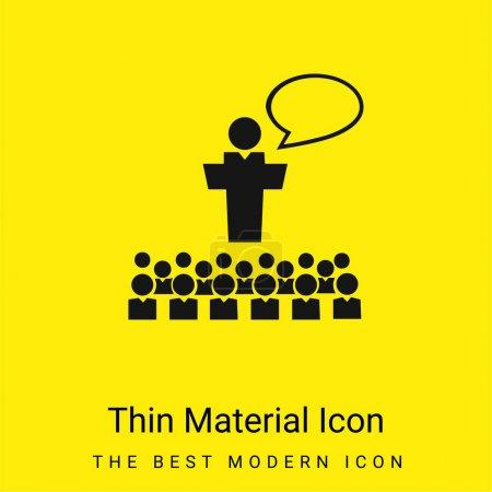 Illustration pour Grand groupe de petits étudiants avec professeur géant devant la classe parlant icône matérielle jaune vif minimale - image libre de droit