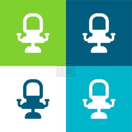 Illustration pour Fauteuil plat quatre couleurs minimum icône ensemble - image libre de droit