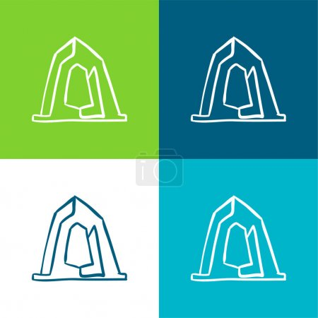Illustration for Artistic Construction Monument Outline Flat four color minimal icon set - Royalty Free Image