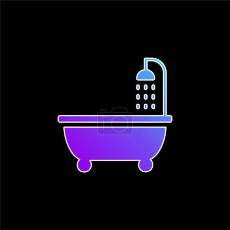 Bañera azul gradiente icono de vector