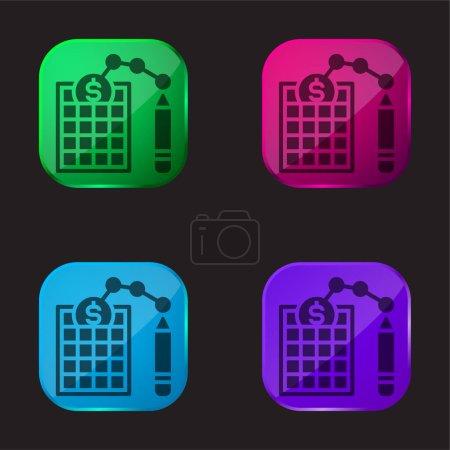 Bilan quatre icône bouton en verre de couleur