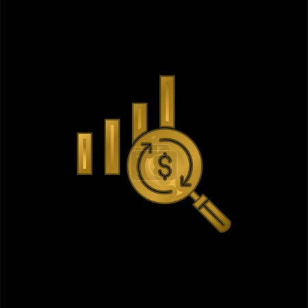 Illustration for Analytics gold plated metalic icon or logo vector - Royalty Free Image