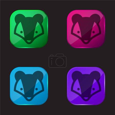 Illustration pour Badger icône bouton en verre quatre couleurs - image libre de droit