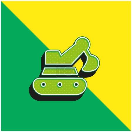 Illustration pour Pelle rétrocaveuse Logo vectoriel 3D moderne vert et jaune - image libre de droit