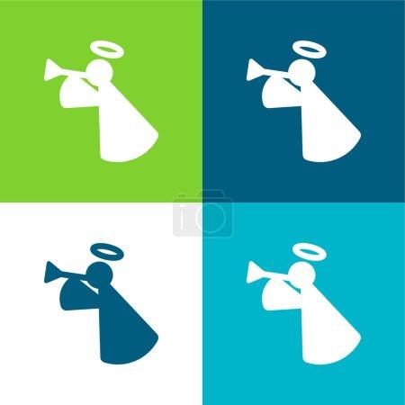 Illustration for Angel Flat four color minimal icon set - Royalty Free Image