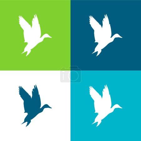 Illustration pour Ensemble d'icônes minimal plat de quatre couleurs en forme de sauvagine d'oiseau - image libre de droit