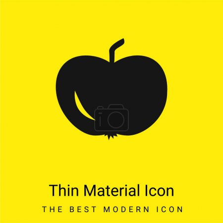 Illustration for Apple Of Black Shape minimal bright yellow material icon - Royalty Free Image