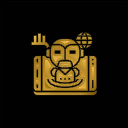 Illustration pour Icône métallique plaqué or intelligence artificielle ou vecteur de logo - image libre de droit