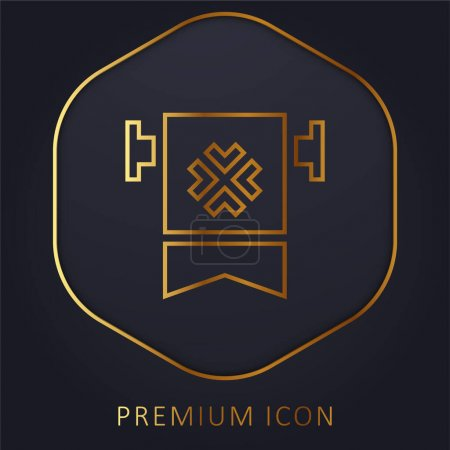 Bannière ligne dorée logo premium ou icône