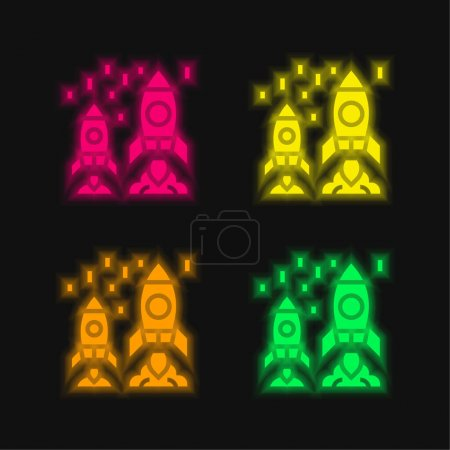Photo for Advantage four color glowing neon vector icon - Royalty Free Image