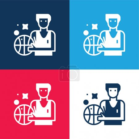 Basketball blue and red four color minimal icon set