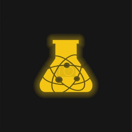 Illustration for Atom Science Bottle yellow glowing neon icon - Royalty Free Image