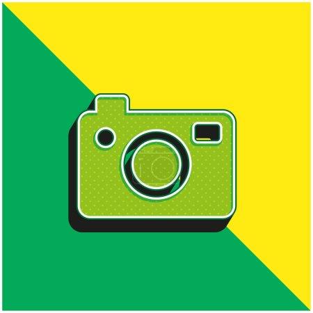 Illustration pour Big Photo Camera Logo vectoriel 3d moderne vert et jaune - image libre de droit