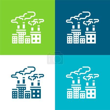 Photo pour Pollution de l'air Ensemble d'icônes minimal plat quatre couleurs - image libre de droit