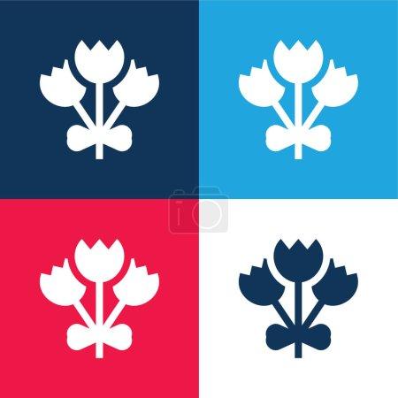 Photo pour Bouquet bleu et rouge quatre couleurs minimum icône ensemble - image libre de droit