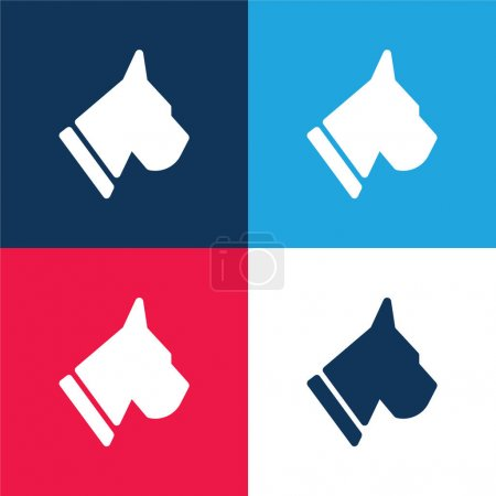 Photo for BoxerHead blue and red four color minimal icon set - Royalty Free Image