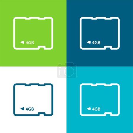 Illustration pour Carte 4Gb Ensemble d'icônes minime plat quatre couleurs - image libre de droit